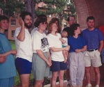 Some of my favorite people: Margie Anderson, Kevin O'Brien, Janet Stone, Pam O'Brien (holding Claire O'Brien) Kathy O'Keefe and Chris Miller at a JVC reunion in 1990.  My face peaks out from the back row.  Kathy smiles at something Brother Miller has said.