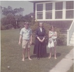 Sister Anna Marie stands between me and my sister Sheila in this 1972 photo, taken in front of our rented Bethany Beach cottage.